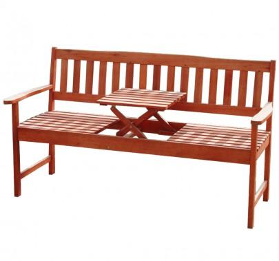 3-sitzer FSC Eukalyptus Gartenbank mit integr. Tisch (#101909)