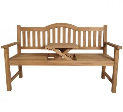 TEAK 3-sitzer Bank mit Tisch (#102019)