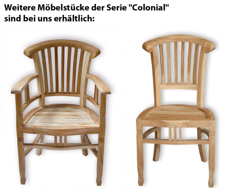 teak stuhl colonial ohne armlehnen 102060 st hle sessel garten kmh shop. Black Bedroom Furniture Sets. Home Design Ideas