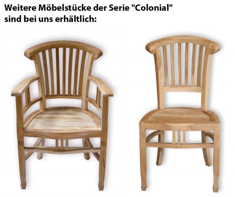 teak stuhl colonial ohne armlehnen 102060 st hle sessel garten kmh shop. Black Bedroom Furniture Sets. Home Design Ideas
