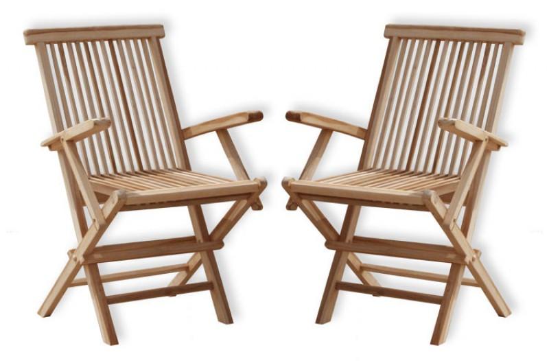 2er set teak klappst hle mit armlehnen 102075 st hle sessel garten kmh shop. Black Bedroom Furniture Sets. Home Design Ideas