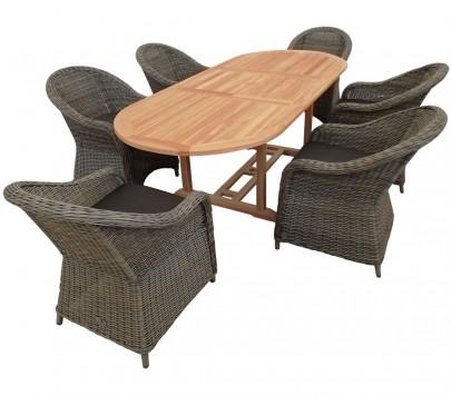 Sitzgruppe 6 x KUBO natur/braun + TEAK Tisch 170-230cm OVAL (#10208401)