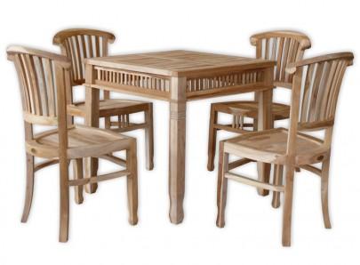 TEAK Gruppe 4x Stuhl Colonial o.A. + Tisch Colonial 80x80 (#102210)
