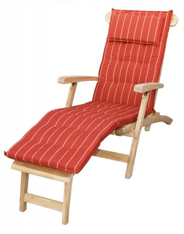 auflage f r relaxliege deckchair terracotta gelbe streifen 105032 auflagen garten kmh On auflage für relaxliege