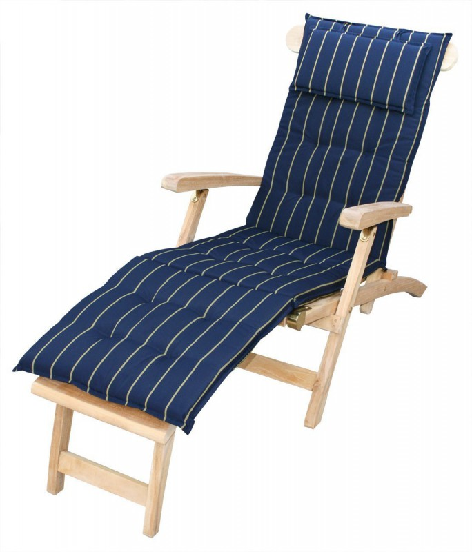 auflage f r relaxliege deckchair navy gelbe streifen 105034 auflagen garten kmh shop. Black Bedroom Furniture Sets. Home Design Ideas