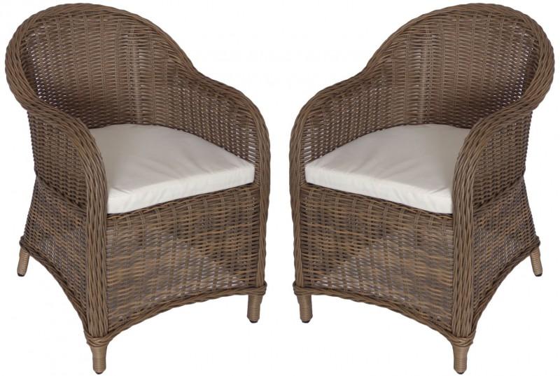 2er Set Polyrattan Sessel *KUBO* natur/braun (#106007) | Stühle ...