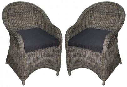 2er Set Polyrattan Sessel *KUBO* natur/braun (#106007)