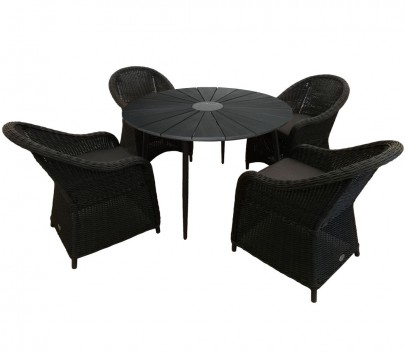Sitzgruppe 4 x KUBO schwarz + Tisch Wolfsburg rund schwarz (#10615901)