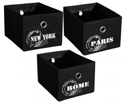3er Set Schrankkorb *Traveller* - Schwarz -Rome / NY / Paris (#204134)