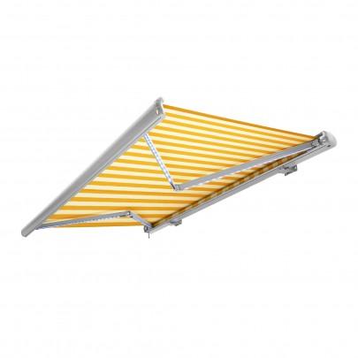 Kassettenmarkise (6m x 3m) (gelb-weiß / weiß) (#700073)