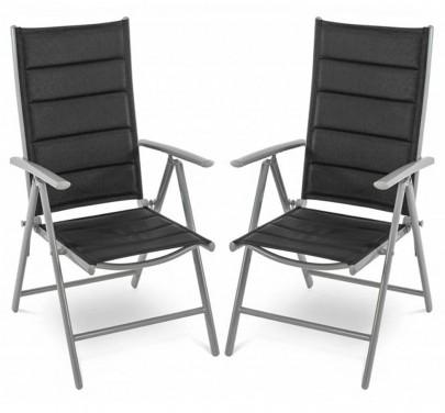2er Set Gartenstühle *Marius* (schwarz / silberfarben) (#800085)