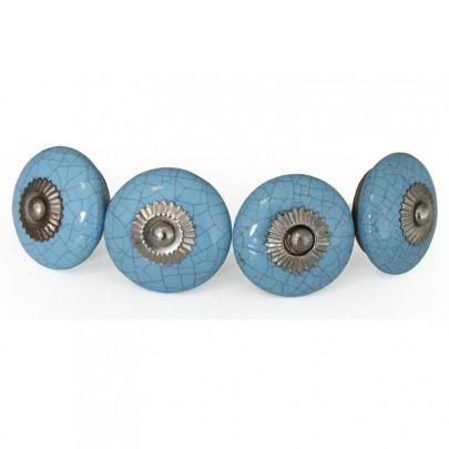 (18) 4er Set Knauf Keramik rund blau Mosaik *B-Ware* (#820018)